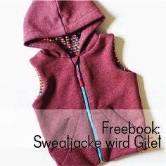 Freebook Anleitung Tutorial Sweatjacke wird Gilet / Weste Klimperklein und Kluntjebunt