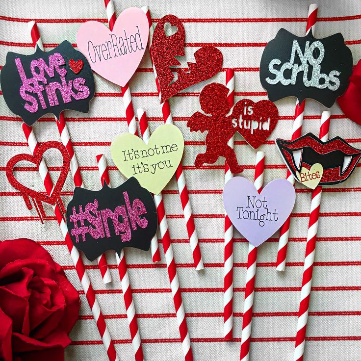 Ask for a custom order today !   Valentine's Day, anti Valentine's Day, photo props, straws, Valentine's Day party, galentines, galentines party, galentine party ideas, anti Valentine's Day decoration, photo props