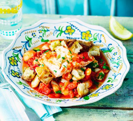 This storecupboard fish stew is bulked out with bread and is full of fresh, summer flavours