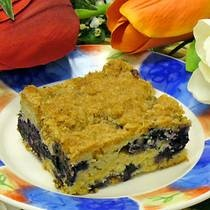 White Chocolate Blueberry Buckle Cake Recipe - Everyone loves this!