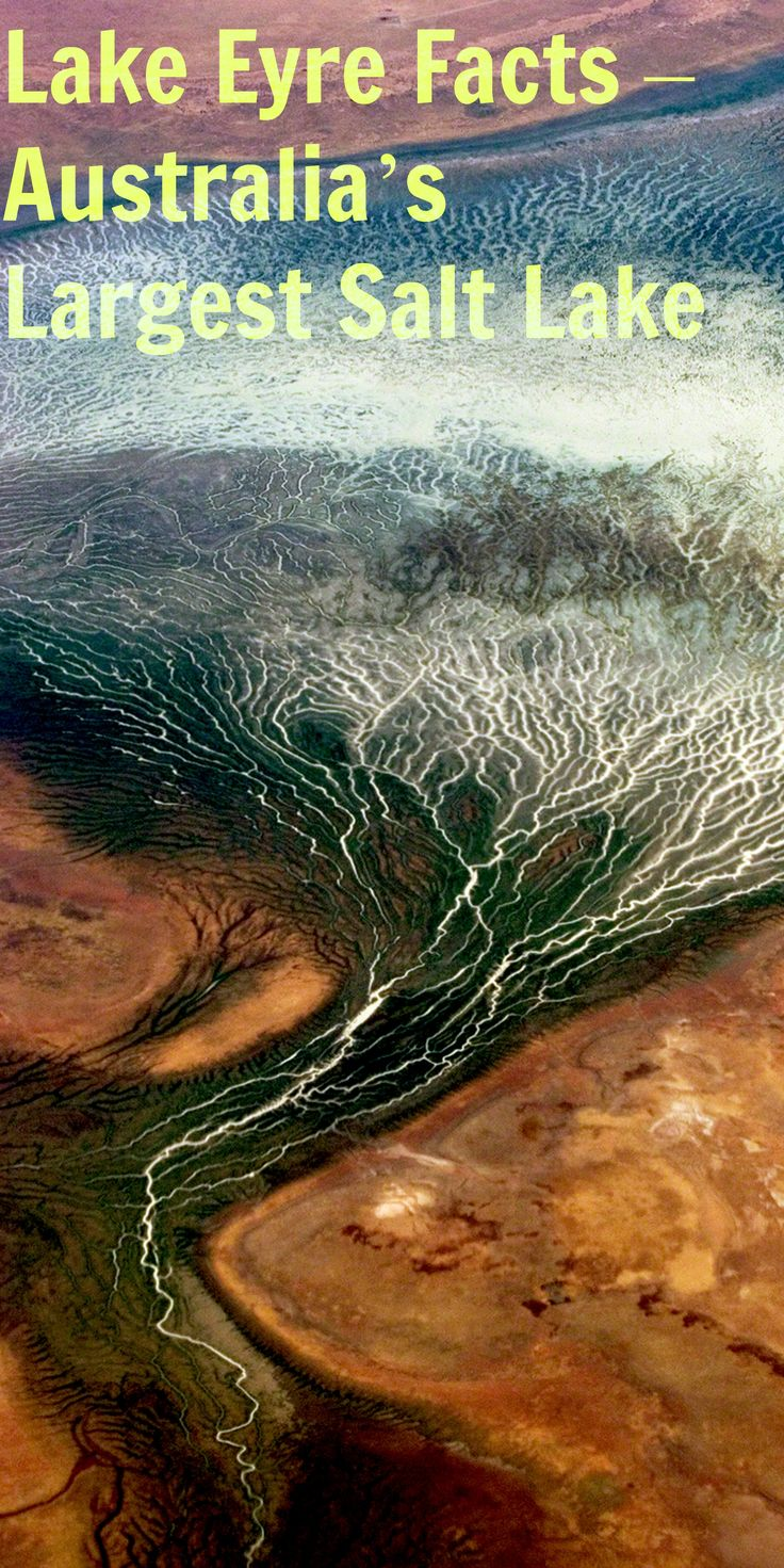 Lake Eyre Facts – Australia's Largest Salt Lake    At 1.2 million square kilometres, the Lake Eyre Basin covers almost 1/6 of Australia and is one of the world's largest internally draining river systems.