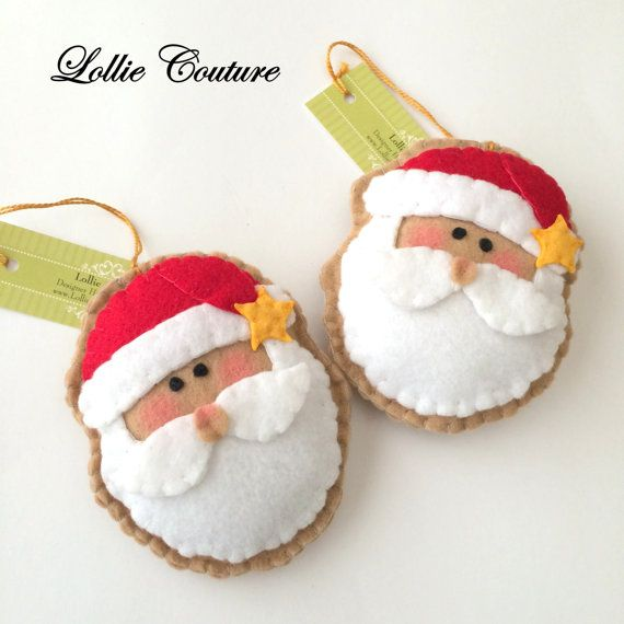 Felt Christmas Ornaments - SET OF 5  MODERN HOLIDAY by Lollie Couture MADE IN…