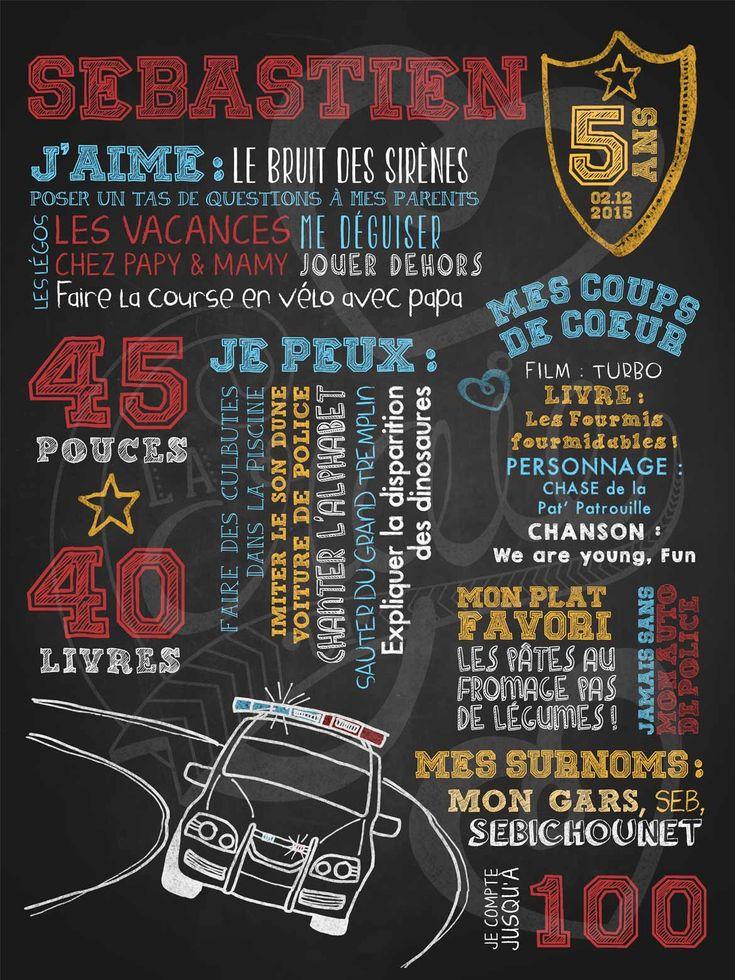 Affiche personnalisée anniversaire 2 à 5 ans Poursuite policière | 28,00$ #chalkboard #lacraieco