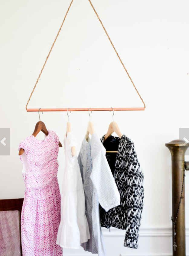 i can make copper triangles to hang from ceiling...with jewelry cards (connected how?)