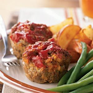 "Meat Loaf ""muffins""  You can substitute ground turkey for the ground beef"