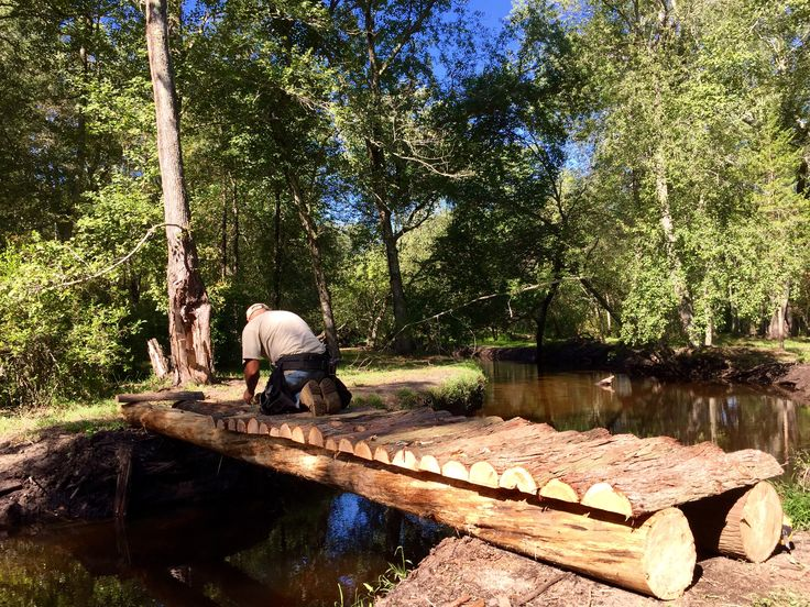 New Rustic Cedar Tree Bridge Crossing The Hammonton Creek Taking Happy Couples To One