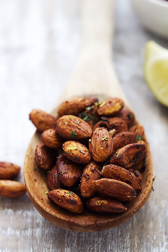 Crunchy pan-toasted almonds with hints of spicy chili and zesty lime - these are positively addictive! So quick, easy, and healthy too!