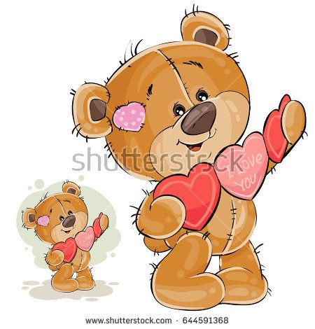 Vector illustration of a brown teddy bear holding a garland of red and pink hearts in its paws. Print, template, design element