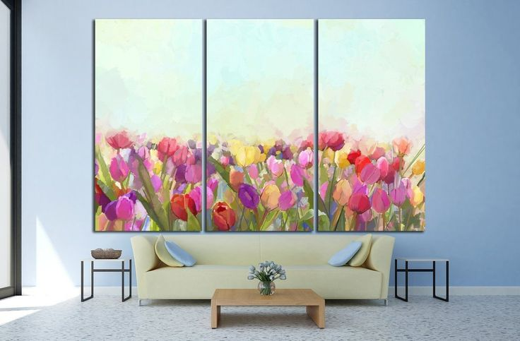 Oil painting yellow, pink and red Tulips flowers №1346