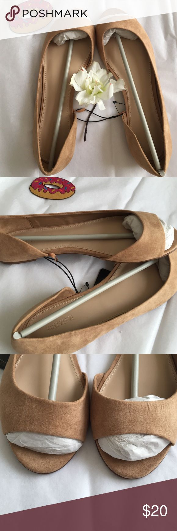 NWT  Suede Beige Open Toe Flats NWT Suede Peep-Toe flats in a beige/camel shade with an open side! So beyond adorable and perfect for any suede lover! They instantly dress up an outfit as well because of being suede!:)  ❤️NO TRADES NO LOW BALLERS❤️  all prices are negotiable, but please don't be rude & low ball :/ REASONABLE offers are always accepted :) Shoes Flats & Loafers