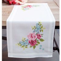 Roses Table Runner Stamped Cross Stitch Kit