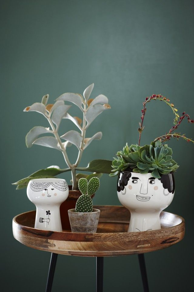 Danish designers Kristine Meyer and Sabine Lavigne's collection of ceramic vessels, each painted with quirky faces