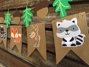 Add whimsical style to a birthday party or baby shower with this embossed Woodland Party Banner. Use it to decorate a wall, a backdrop or your sweets table..etc. The possibilities are endless. QUANTITY: ● 1 Woodland Banner with 6 Creatures: 1 Hedgehog, 1 Fox, 1 Raccoon, 1 Owl, 1 Skunk, and 1 Fawn ● Optional: Leaf and Acorn Banner- 5 length COLORS: ● Brown, Tan, Black, Green, Blue, Orange, White Note: Glitter, metallic and other colors can be added/changed, additional fees apply. Please...