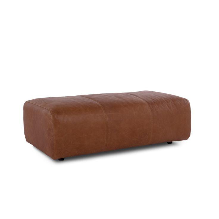 Lederhocker braun mit Füssen aus Buche CAMP, braun Kunststoff Buche - 14062002 0