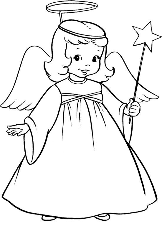 The Child Christmas Angel Coloring Page