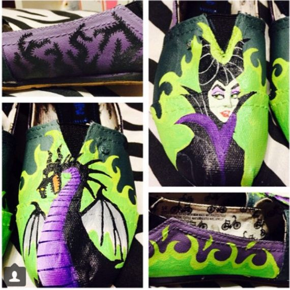 Maleficent Hand Painted Custom Shoes by ShePaintsShoes1 on Etsy