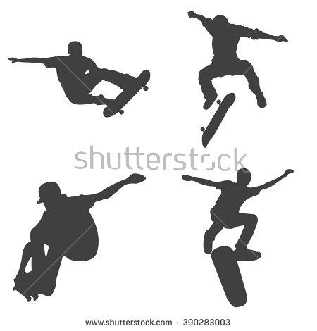 027-Skateboard Vector Silhouettes – Free Vector Graphics Download | Free Vector Clip Art Packs | Free-Vectors.com
