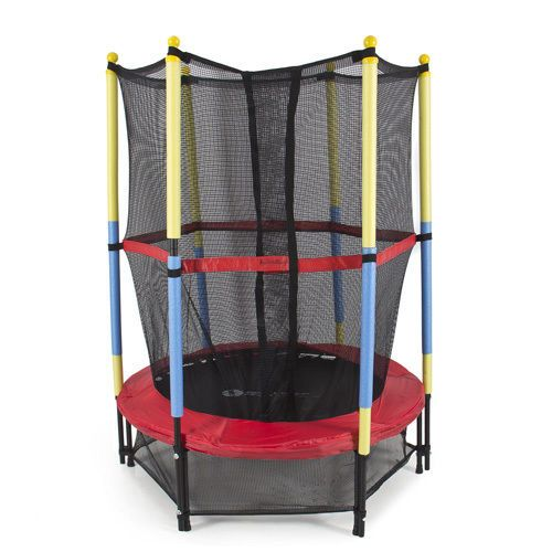 "Kid Trampoline Lafayette: Details About 55"" Round Kids Mini Trampoline W/ Enclosure"