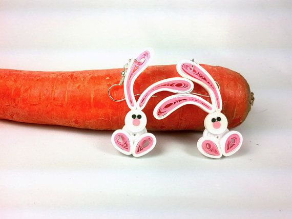 Easter Bunny Paper Quilled Earrings - Easter earrings, Easter bunny earrings, paper quilling jewelry, paper quilled earrings, Easter jewelry
