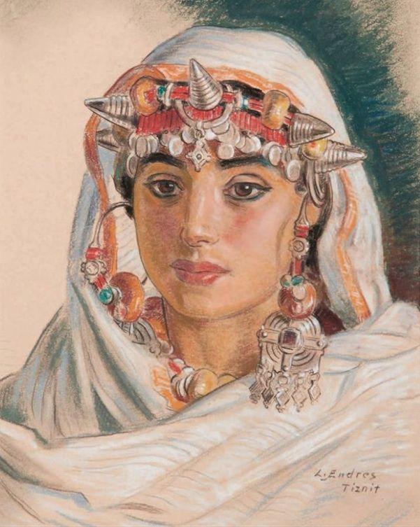 by Louis Endres (1896-1986)_Jeune Marocaine de Tiznit-pastel & craies de couleurs