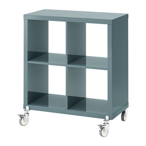 KALLAX Shelving unit on casters, high-gloss gray-turquoise high-gloss gray-turquoise 30 3/8x35