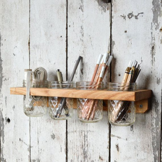 Landis Wall Caddy 4 Jars Home and Decor Bathroom Kitchen  something like this but with pottery???