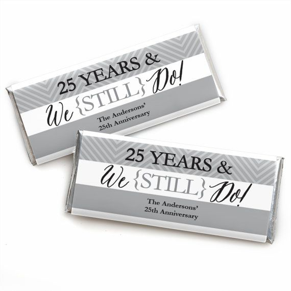 24 We Still Do - 25th Anniversary Custom Candy Bar Wrappers - Personalized Anniversary Party Favors