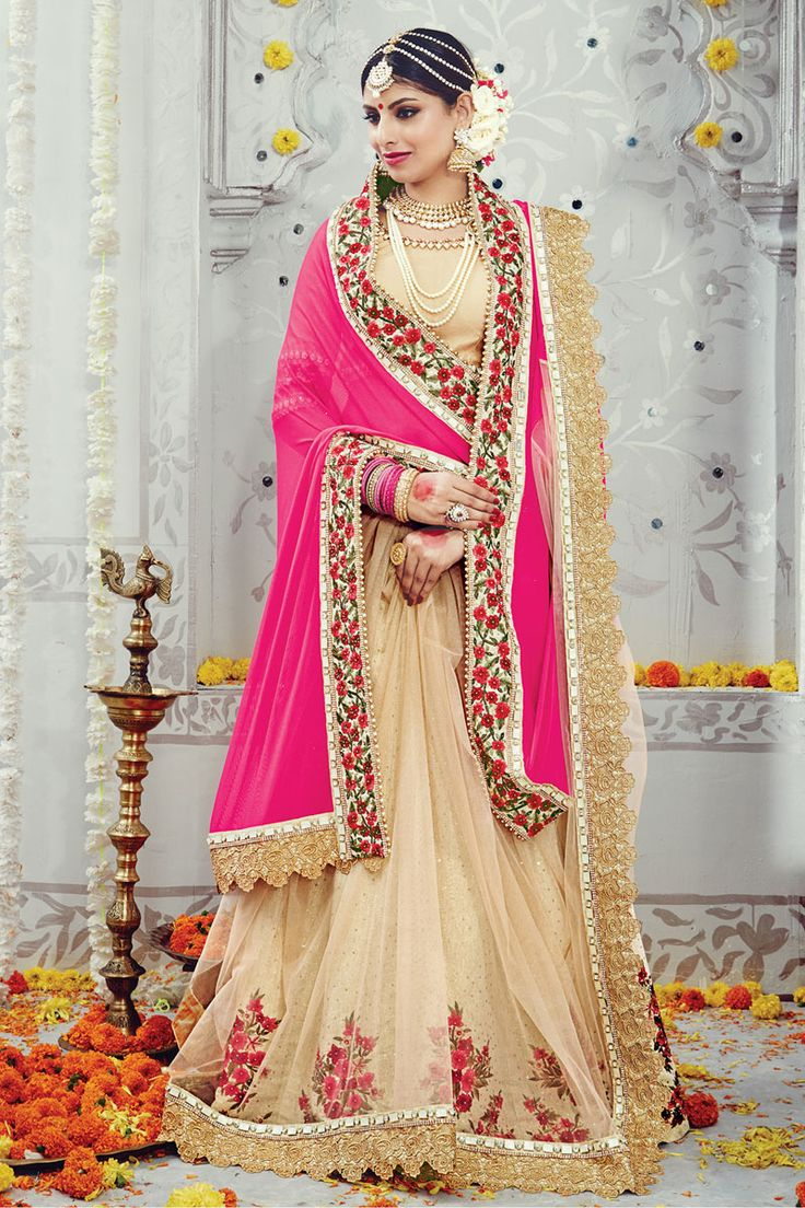 #WeddingSaree Beige-Pink Lycra Net Pallu Bridal Saree with Heavy Zari thread Work. Shop Now :- https://goo.gl/oHrtDw