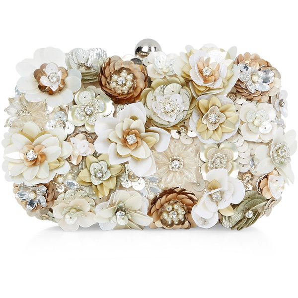 Accessorize Chelsea Hardcase Clutch (€84) ❤ liked on Polyvore featuring bags, handbags, clutches, beaded handbag, flower purse, sequin handbags, chain strap purse and chain handle handbags