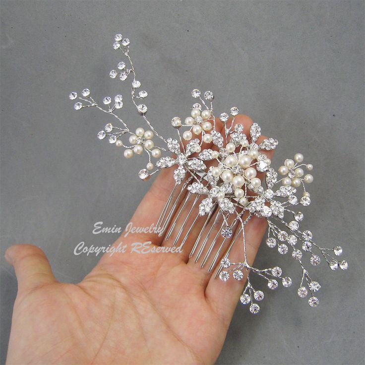 wedding hair accessorieslarge bridal hair combs pearl rhinestone crystal vintage style wedding hair