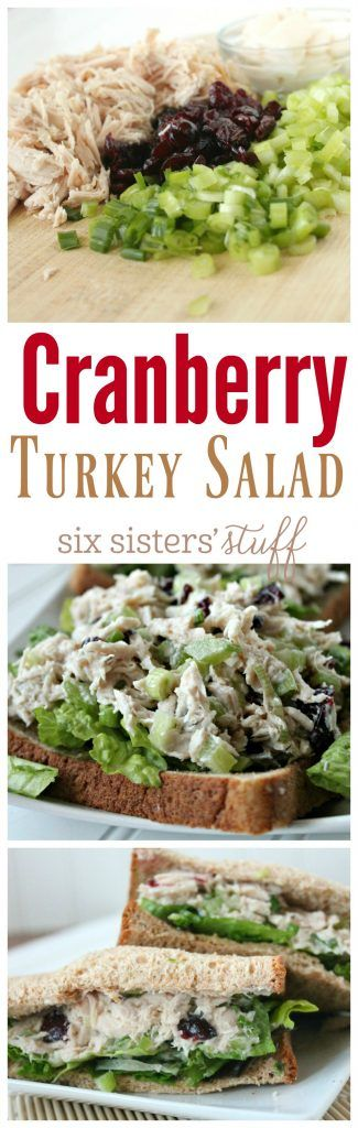 Cranberry Turkey Salad Sandwich recipe from SixSistersStuff.com | Simple, delicious and a great way to use leftover turkey!