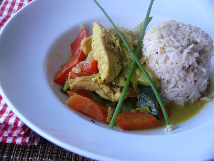 Gemüse-Hühner-Curry mit Reis #asiatisch #lecker
