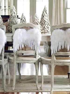 Great idea for a white decor! Wings on the back of dining chairs