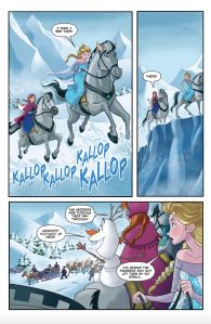 This Frozen-inspired comic features Elsa, Anna, and our favorite snowman Olaf on an adventure looking for Kristoff!