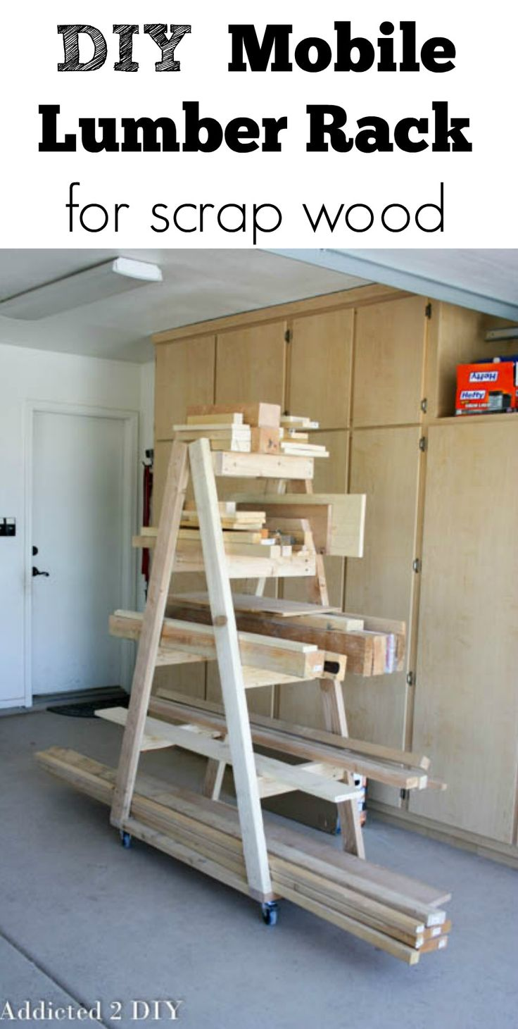 This mobile lumber rack is the BEST way to keep your scrap wood organized!  Plus you can move it around the garage to keep it out of your way when you're working on projects!