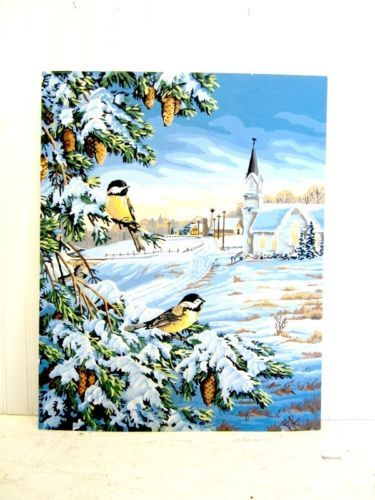 Vtg Paint by Numbers Winter Bird Blue Snow Scene Oil Painting Picture PBN | eBay