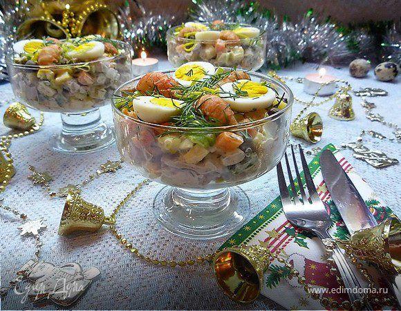 Салат «Гусарский». Ингредиенты: майонез «Слобода» Оливковый, перепелки, свиной язык