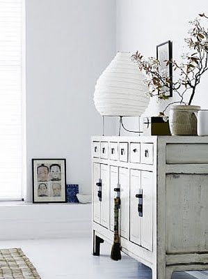 distressed cupboard, Asian-inspired decor