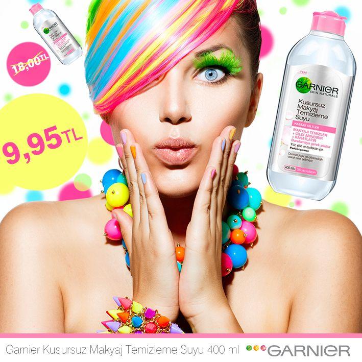 Rengarenk bir indirim daha! Bu indirime bayılacaksınız! Garnier Kusursuz Makyaj Temizleme Suyu 400 ml, % 45 indirim de. #turuncukasa #kampanya #garnier #indirim