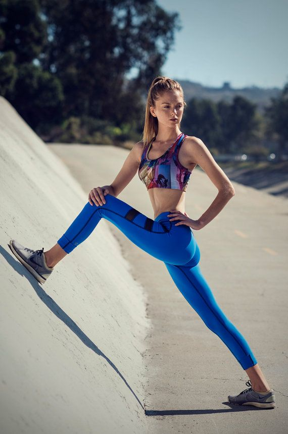 High Waisted Blue Yoga Leggings Yoga Pants Fashion by NINABROZE