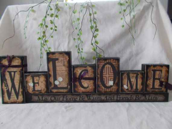 Welcome wood block sign by ktuschel on Etsy