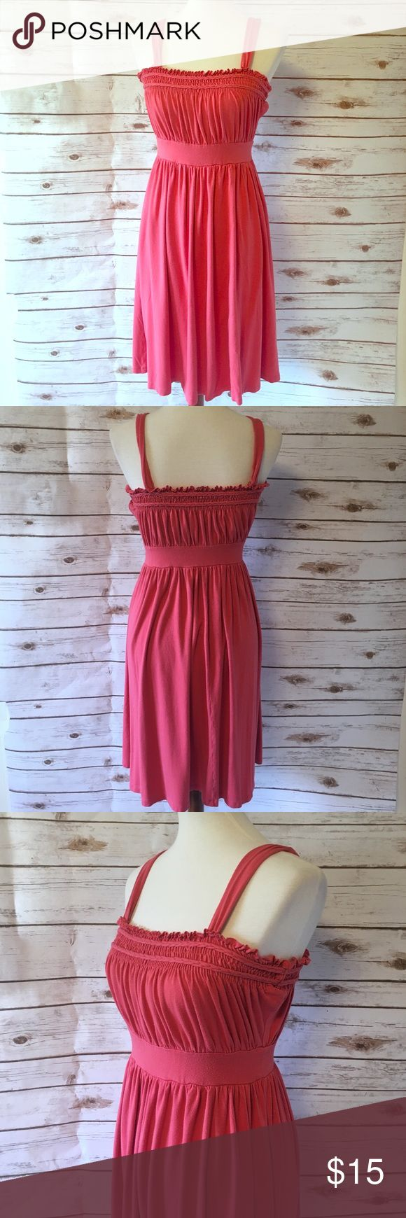 Halogen Pink Strappy Dress Comfortable dress with elastic around the top for a snug fit. Rope detail. One of the straps in the back is slightly tearing (shown in photo). 95% Rayon / 5% Spandex Halogen Dresses Midi