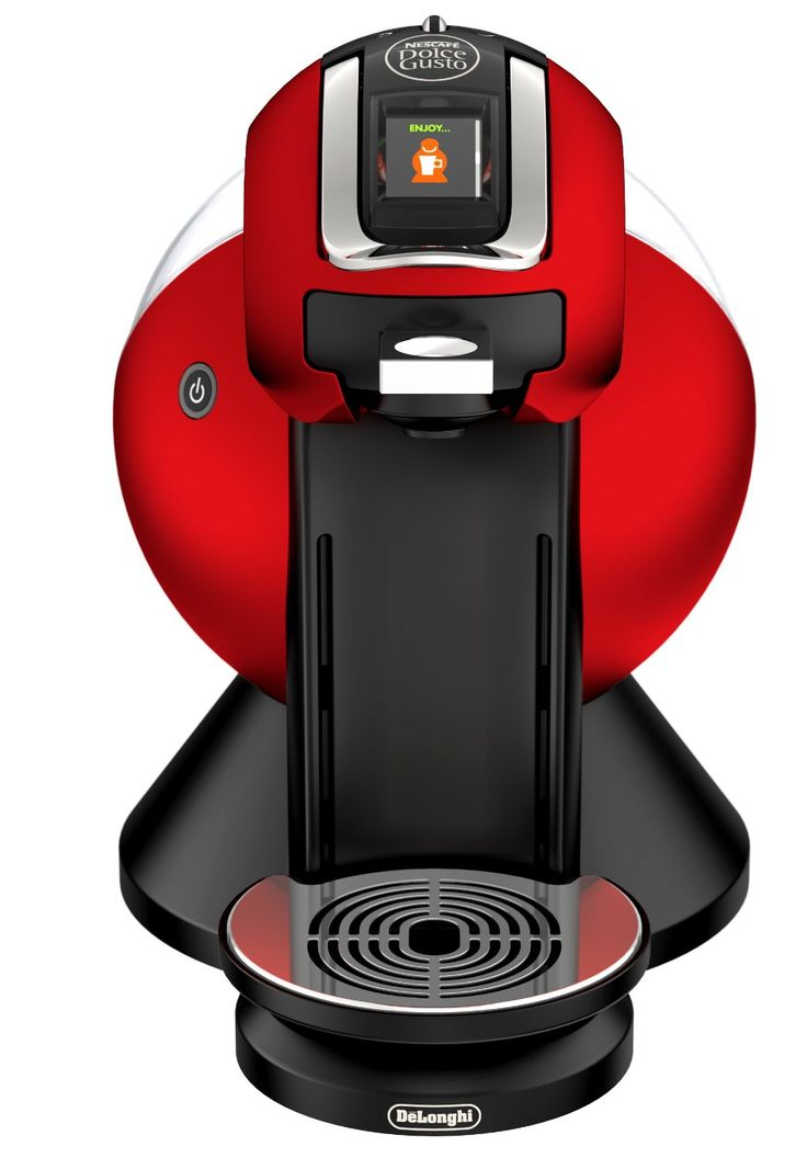The Dolce Gusto Creativa Plus is a single serve red coffee maker with style.  http://www.thecoffeedrinkersconnection.com/the-nescafe-dolce-gusto-single-serve-coffee-maker-review.html