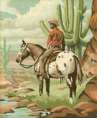 2 COWBOY PAINT BY NUMBER WESTERN PICTURES