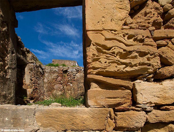 Polyrrinia Kissamos, West Crete Greece. Wall of a ruined house in Polyrrinia.