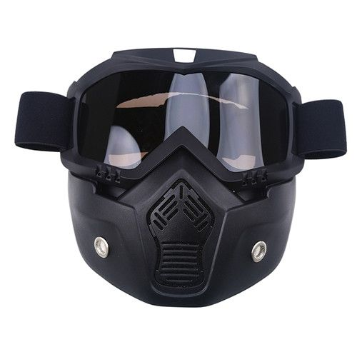Motorcycle Face Mask Dust Mask&Detachable Motocross Goggles&Mouth Filter For Cafe Racer Modular Open Face Moto Vintage Helmets
