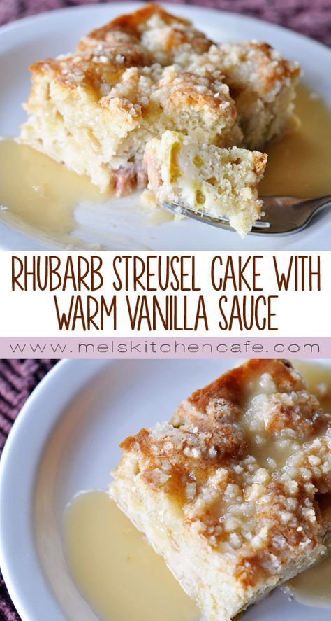 This Rhubarb Streusel Cake with Warm Vanilla Sauce is absolutely the most delicious way to use up rhubarb!