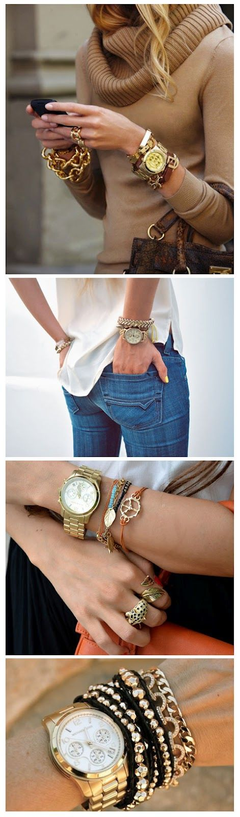Accessories: Arm Candy, Watches Bracelets, Gold Bracelets, Big Watches, Gold Watches, Watches Arm, Gold Jewelry, Gold Accessories, Arm Parties
