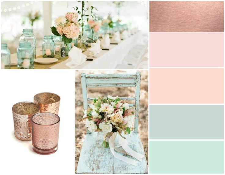 color palettes with rose gold for wedding - Google Search