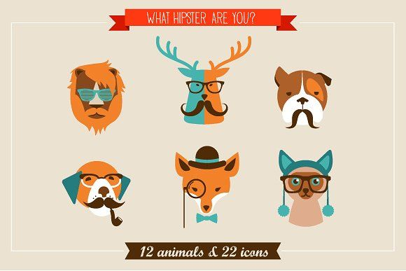 Hipster Animals & 22 icons by Marish on @creativemarket